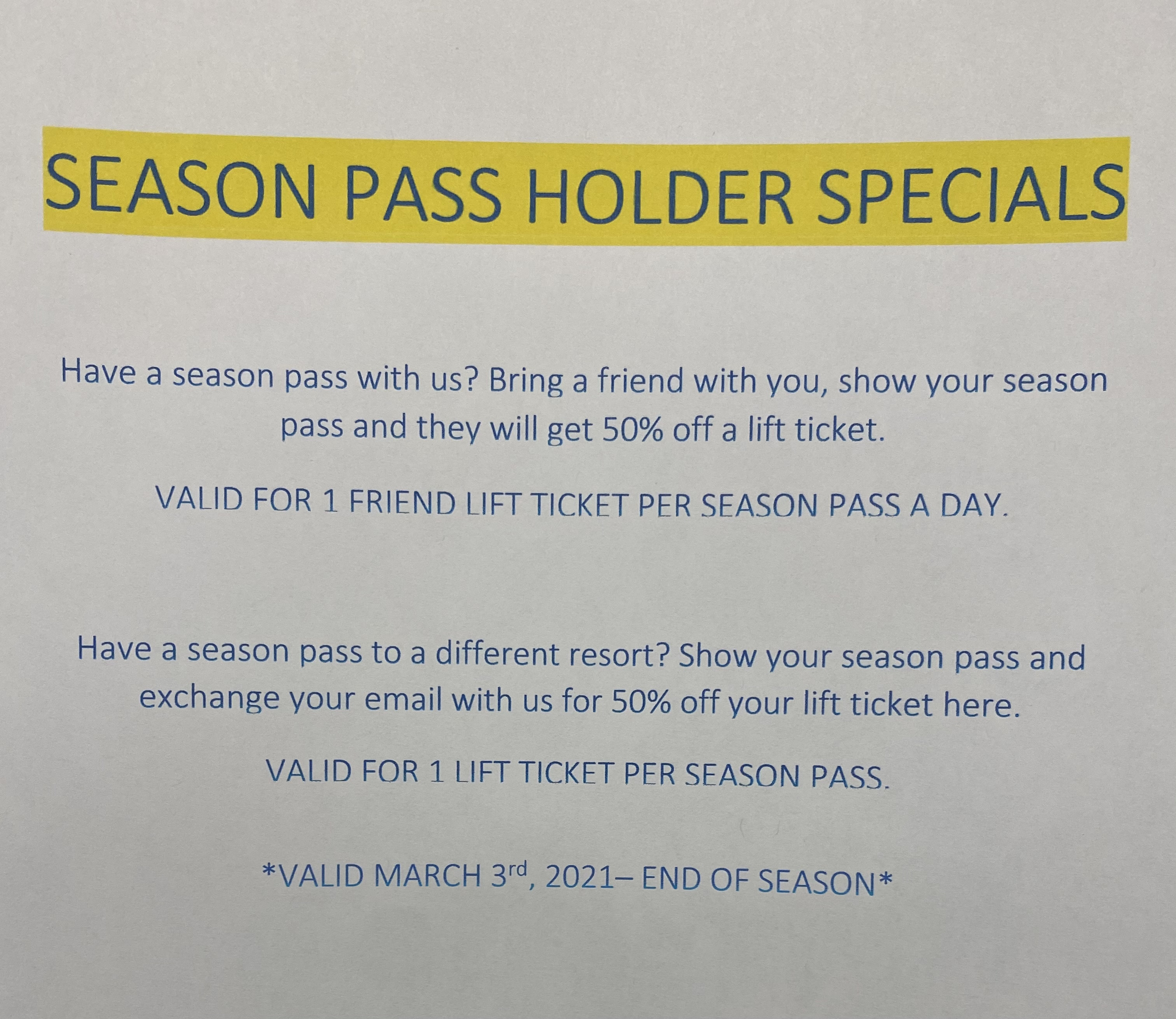 Season Pass Holder Special